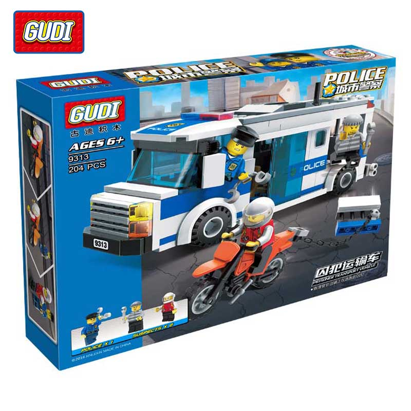 GUDI 204Pcs City Police Series Prisoner Car Set Building Blocks Set Model DIY Bricks Educational Toys Birthday Gift for Children city series police car motorcycle building blocks policeman models toys for children boy gifts compatible with legoeinglys 26014