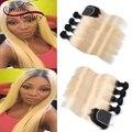 T1b/613 dois tons de loiro ombre pacotes com fechamento em linha reta extensões de cabelo humano brasileiro com fecho de 4 pcs com fechamento