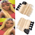 T1b/613 two tone ombre blonde bundles with closure straight brazilian human hair extensions with closure 4pcs with closure