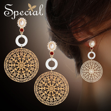 Specials925 silver needle personality hollowed out mysterious big earring ear nail woman does not have ear hole ear clip