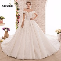 SHAMAI Elegant Lace Princess Wedding Dress 2018 Beading Appliques Vintage High Quality Bride Dresses Robe De