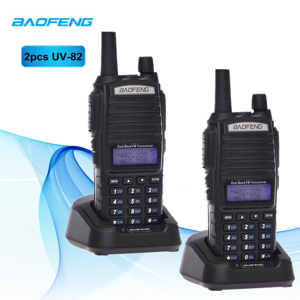 2 pcs Talkie Walkie Baofeng UV-82 Deux voies Émetteur-Récepteur Radio 128 CHs 400-520 mhz Double Bande Double Affichage double Veille Talkie Walkie