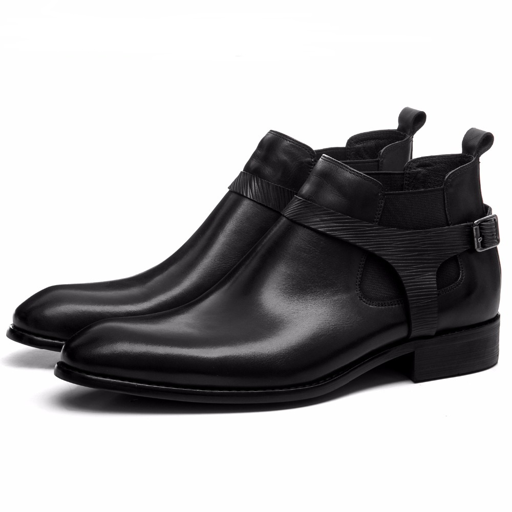 Fashion Black Mens Ankle Boots Genuine Leather Dress Boots Autumn Mens Motorcycle Boots With BuckleFashion Black Mens Ankle Boots Genuine Leather Dress Boots Autumn Mens Motorcycle Boots With Buckle