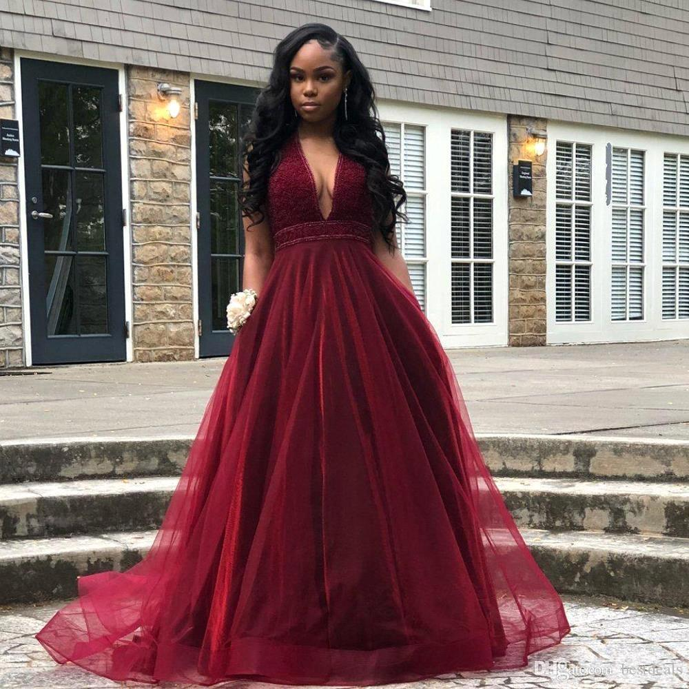 Sexy V Neck Burgundy   Prom     Dresses   Long 2019 Heavy Beaded Top Tulle Evening   Dress   Formal Special Occasion   Dress   Party Gowns