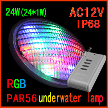 Factory direct sale led rgb swimming pool 24W(24*1W) Par56 underwater led pool light Contains the remote control free shipping