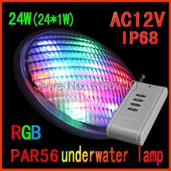 Usine vente directe led rgb piscine 24 W (24*1 W) Par56 sous-marine led piscine lumière contient la télécommande livraison gratuite