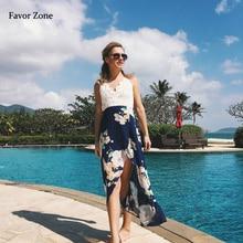 цены на Lace Floral Print Strap V Neck Boho Beach Long Summer Dress Backless Chiffon Maxi Sexy Party Dress Women Sundress Vestidos 2019 в интернет-магазинах