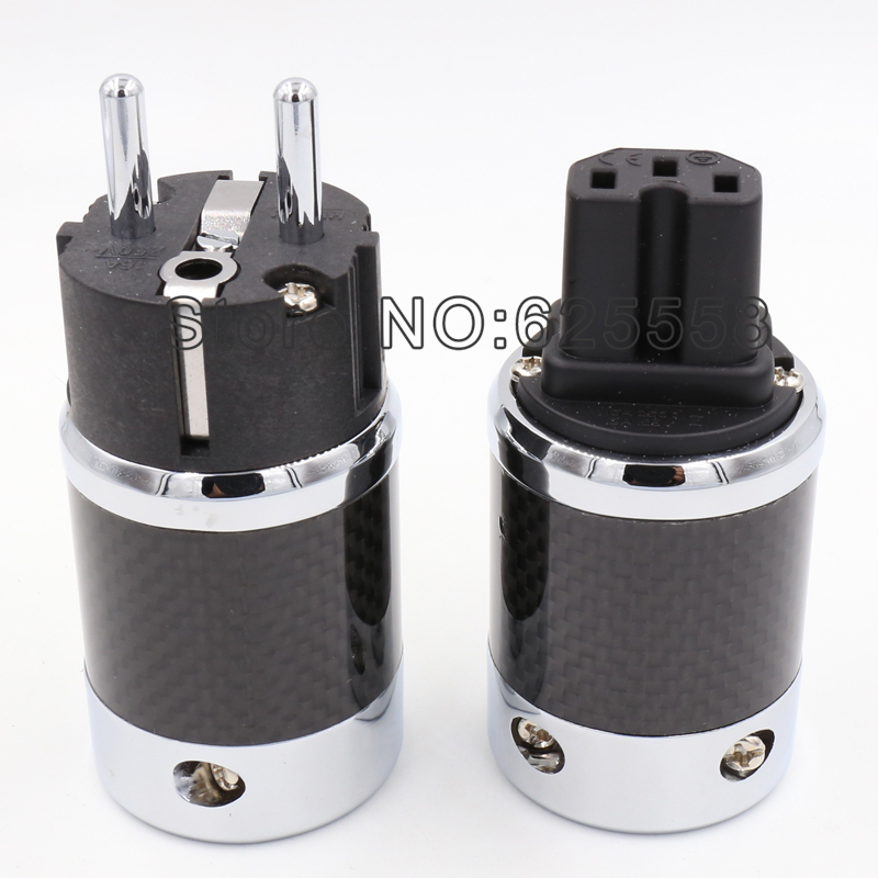 High Quality 1pair EU Schuko Copper Rhodium Plated Carbon Fiber AC Power Plug Connector +IEC connector  for DIY Hifi power Cable  free shipping 2m ofc pure copper power cable pof 1000 carbon fiber rhodium plated ac us plug for hifi