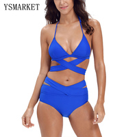 2017 Women Solid Trikini Halter Swimwear Two Pieces Summer Beach Swimsuit Cut Out Bandage Bathing Suit