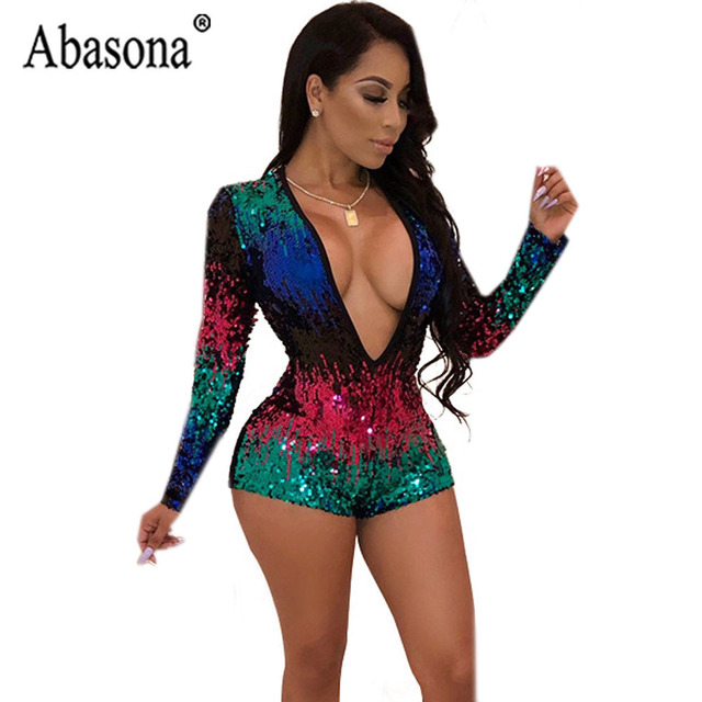 e7c1dfdbf38 Abasona Sexy Women Deep V Neck Color Sequin Playsuit Long Sleeve Short Rompers  Womens Jumpsuit Nightclub Bodycon Romper Female. 1 order