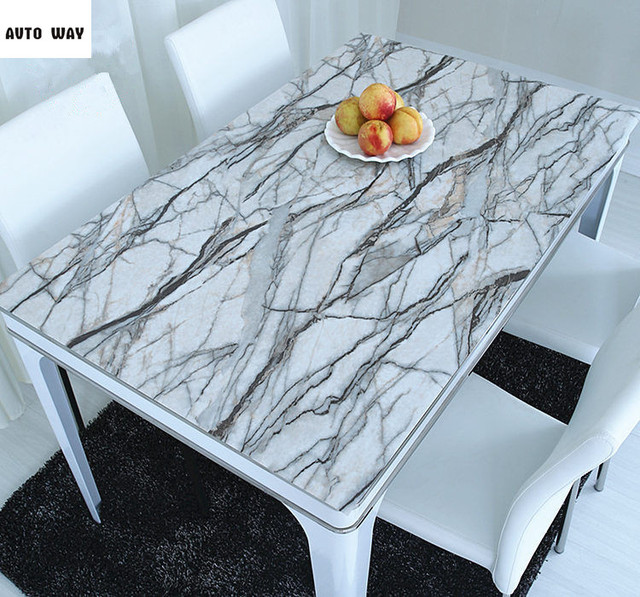 Superior New PVC Opaque Table Mats Marble Tablecloth Waterproof Crystal Sheet Color  Soft Glass Printing Coffee Table
