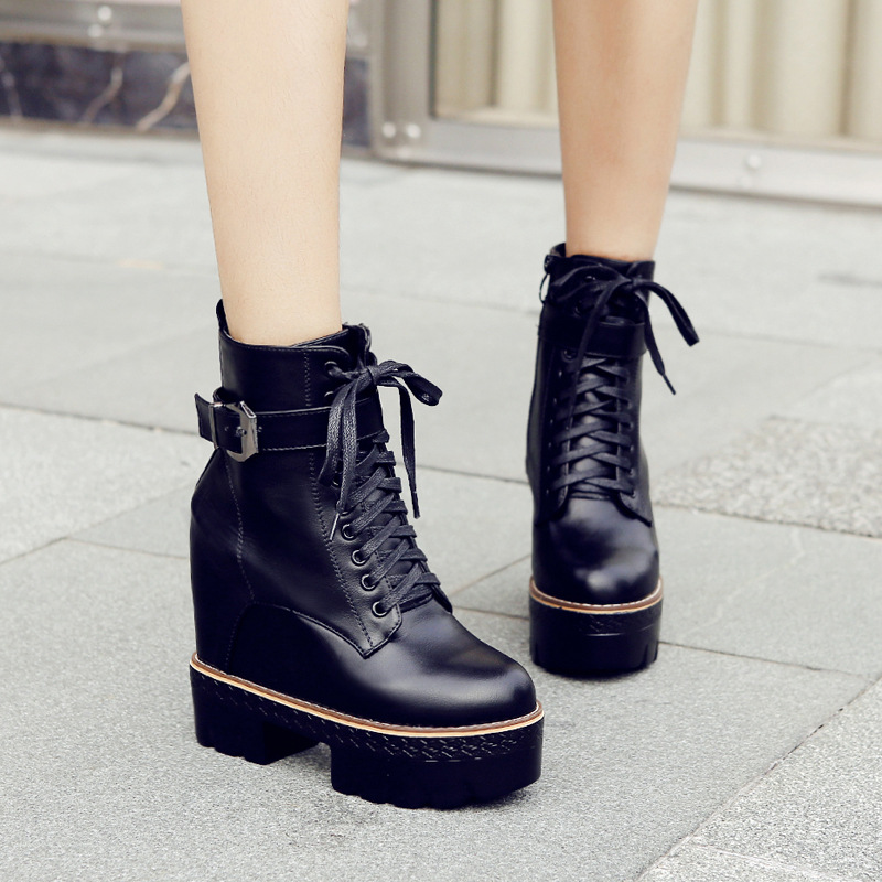 Autumn and Winter 2018 New Thick soled Leisure Student's High heeled Laces Suede women Shoes ankle boots for women