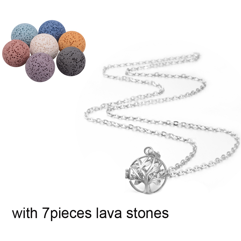 Tree Of Life Silver Chime Box Cage Necklace Pendnt Sets CLOVER JEWELLERY