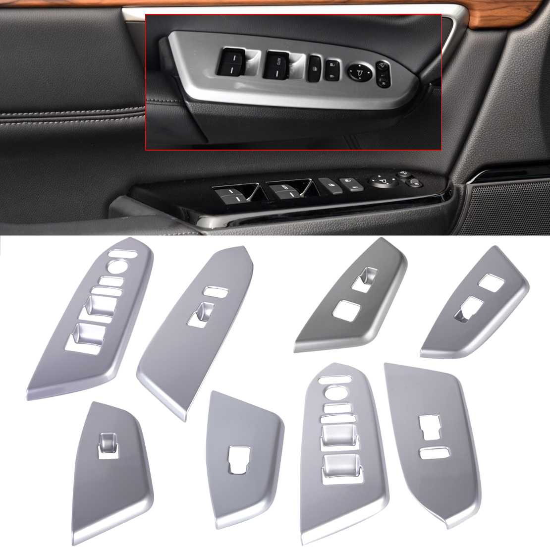 DWCX 4Pcs Car Styling Decoration ABS Matte Chrome Plated Interior Window Switch Trim Molding Cover fit for Honda CRV 2017