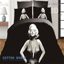 Personalizado sistema del Lecho 3D Marilyn Monroe Ropa de Cama conjunto Queen size Edredón Funda Nórdica establece la Hoja de Cama de Impresión