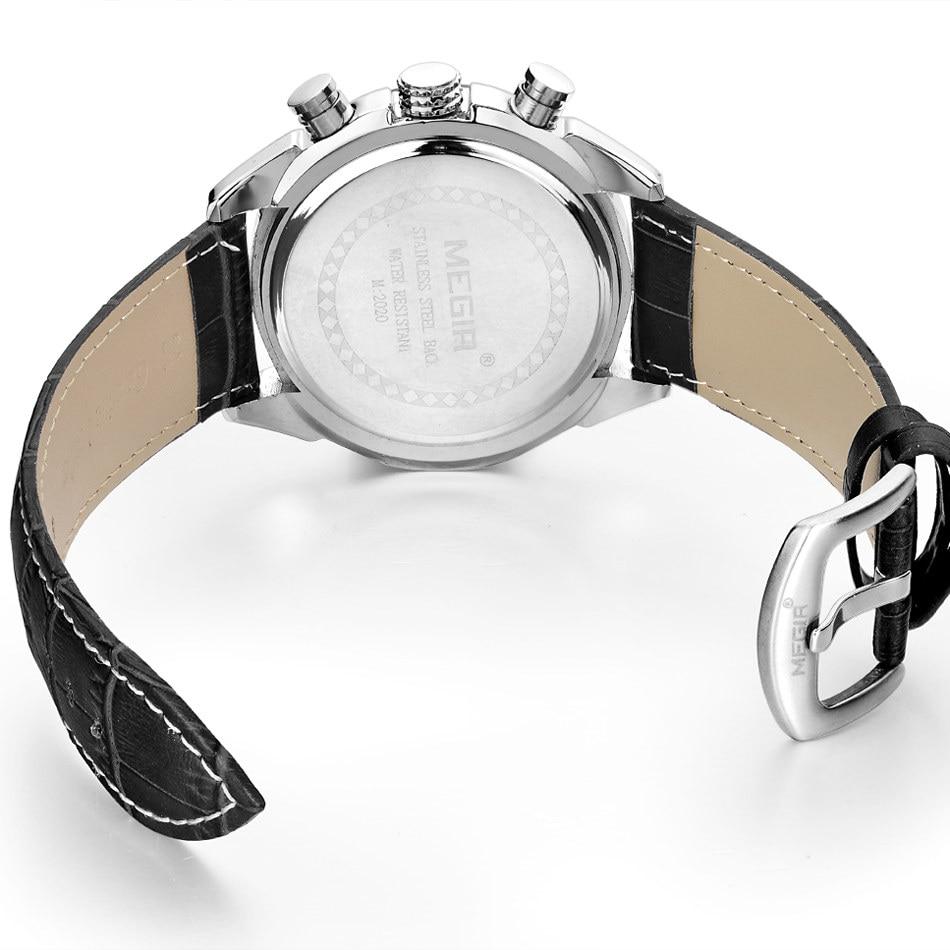 Relogio Masculino MEGIR Funkcja Chronograph Mens Watch skórzana - Męskie zegarki - Zdjęcie 5
