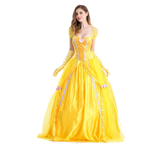 Halloween Costume Adult Beauty and The Beast Bell Princess Dress Belle Cosplay