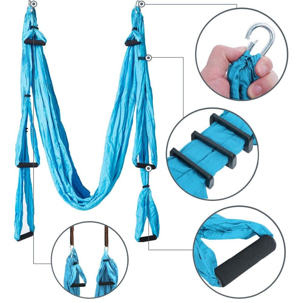 Ensemble de hamac de Yoga aérien Anti-gravité complet ceinture de Yoga multifonction outil d'inversion de Yoga volant pour le corps de Pilates façonnant 15 couleurs - 2