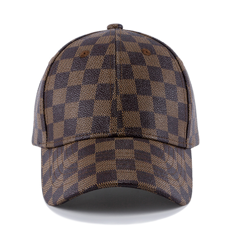 Faux Leather Baseball Caps Men Women Plaid Snapback Dad Hats Outdoor  Fishing Driving Cap Adult Hat Father Gift-in Baseball Caps from Apparel  Accessories on ... 216a3cb37555