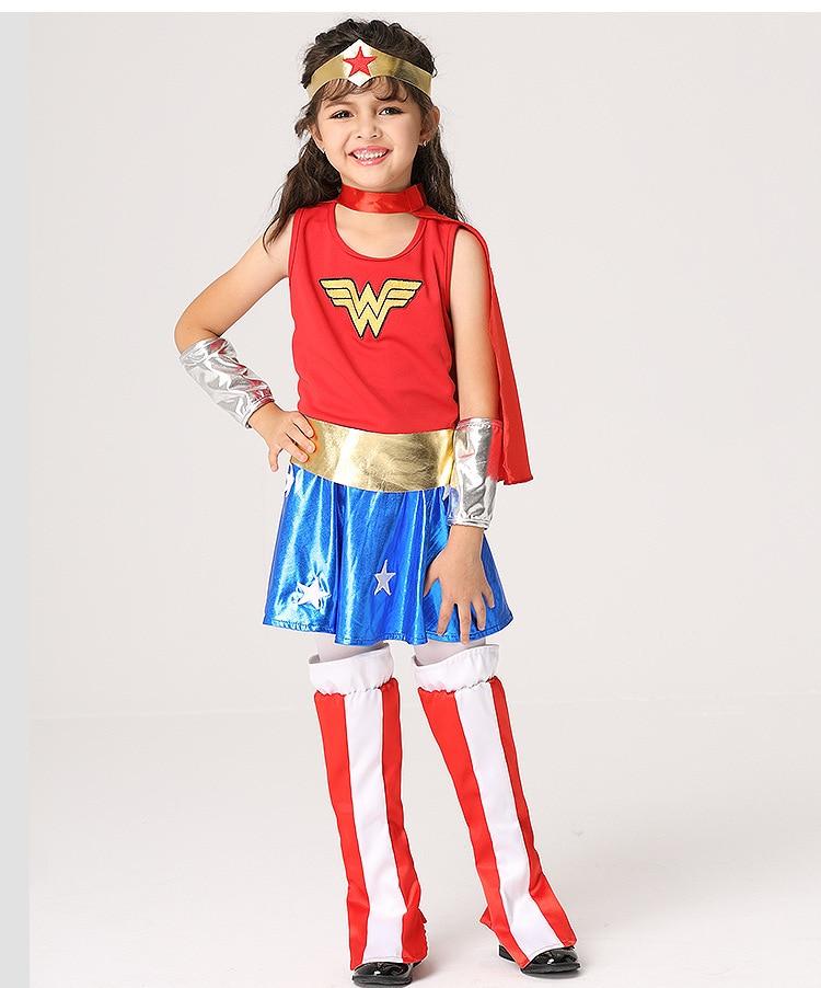 Wonder Woman Kid Cosplay Costume Supergirl Kids Costume -9445
