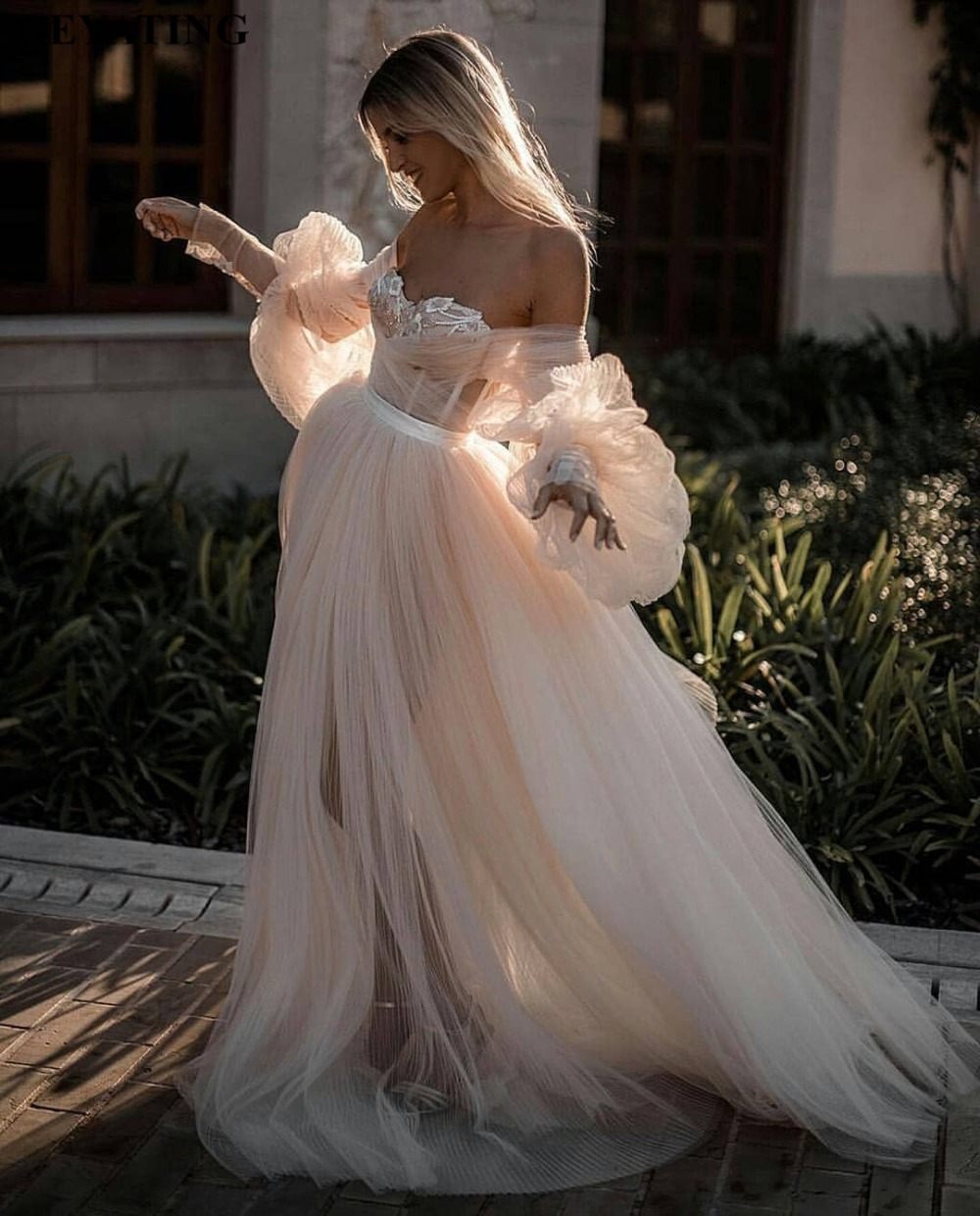 Champagne Vintage Wedding Dresses: Romantic Off Shoulder Champagne Boho Wedding Dress Long