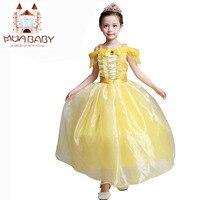 Girl Dress Princess Belle Party Dress Character Sleeveless Shoulderless Halloween Cosplay Costume Kids Performance Clothing