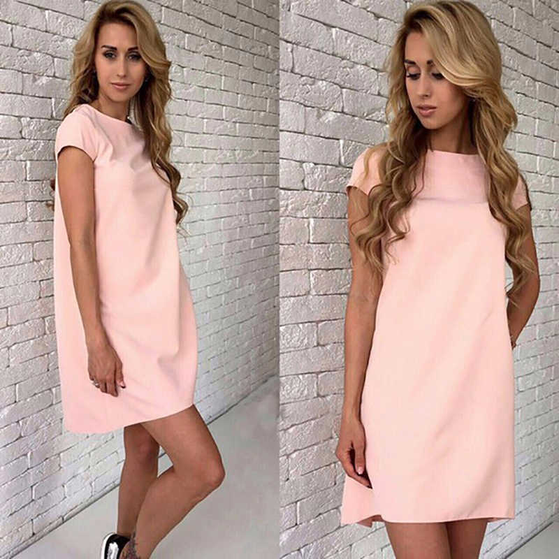 Summer Beach Dress Casual Women Female Short Sleeve Loose Mini A-line Dresses Candy Color Straight Vestidos  S-XX