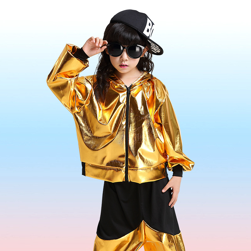 Free Shipping Gold Silver Children Boys Girls Hip Hop Dance Wear Stage Competition Ballroom Dancing Clothes Kids Jazz Costumes