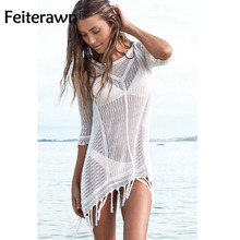 Feiterawn 2017 Women Summer Bikini Cover Ups White 3/4 Sleeve Tassel Knitted Hollow Out Sexy Mini Beach Dress Cover Up DY1248