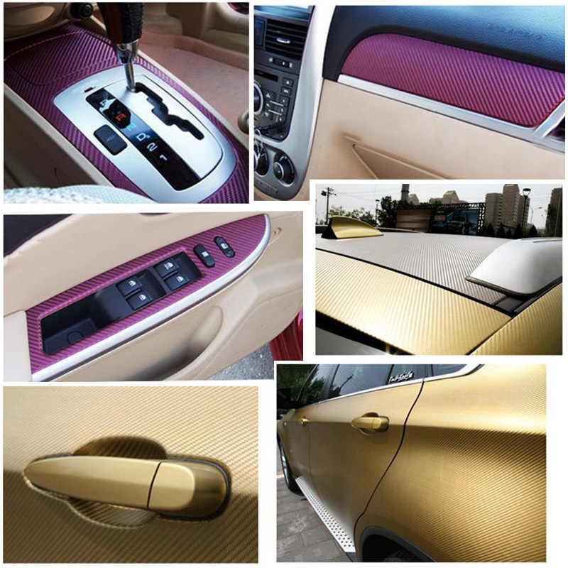 127cm x 10cm 3D pegatinas de coche impermeable HOJA DE Película de vinilo de fibra de carbono rollo de envoltura Auto coche DIY decoración pegatina papel coche estilo