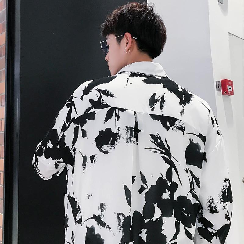 Yayu Mens Print Long Sleeve Nightclub Retro Ethnic Button Down Shirts