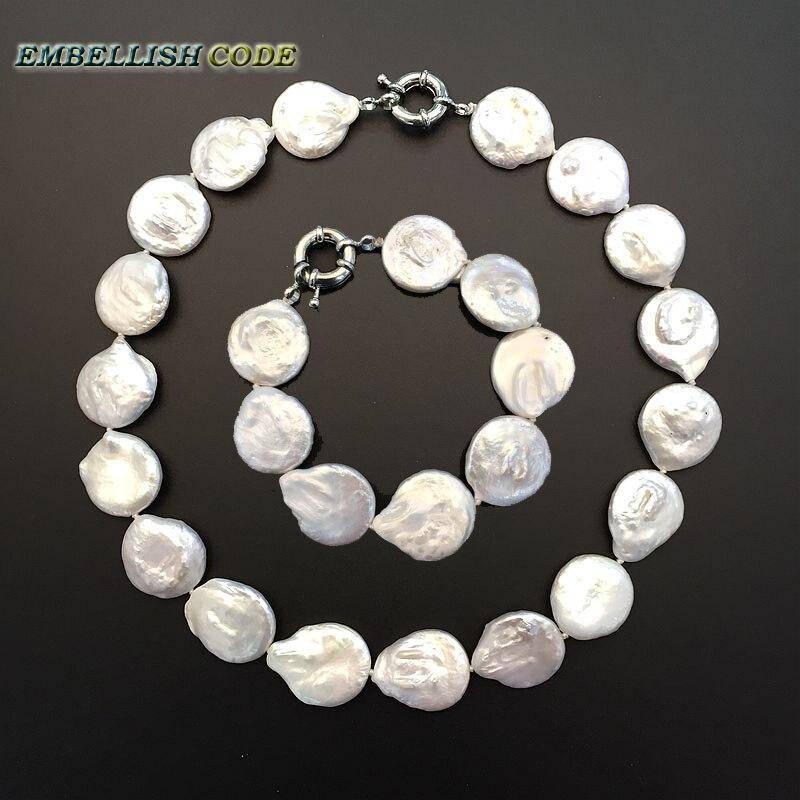 Chaud grande taille baroque bouton coin forme ras du cou collier bracelet ensemble bijoux fins perles d'eau douce naturelles couleur blanche élégant