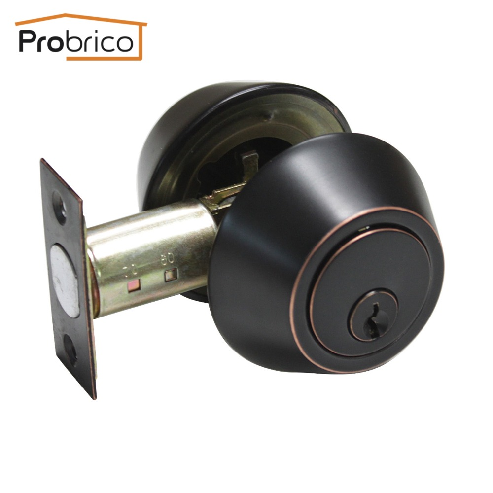 Probrico Stainless Steel Round Home Door Cylinder Security Lock/Deadbolt Safe Key Lock Set Oil Rubbed Bronze DLD102ORBDB top designed stainless steel home door locks brass lock cylinder deadbolt lock security batch room lock with 3 keys