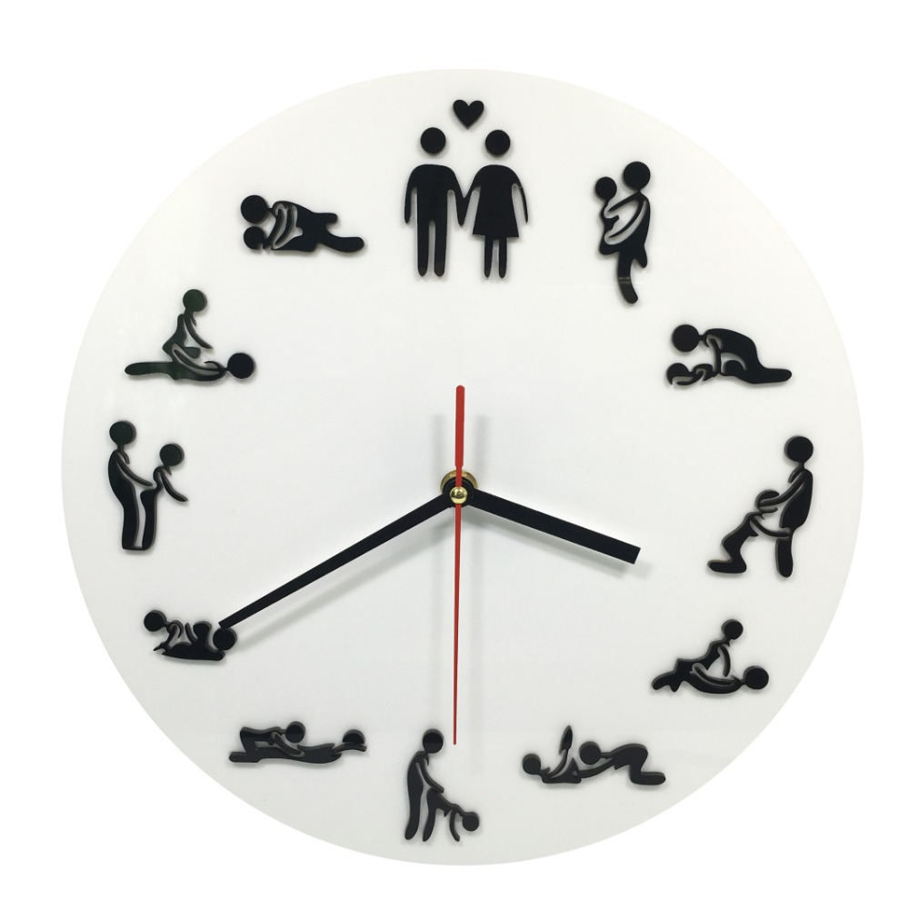 1 pièce Kama Sutra Sexe Position Horloge 24 Heures Sexe Horloge Horloge Murale Faire L'amour Horloge Cadeau De Mariage