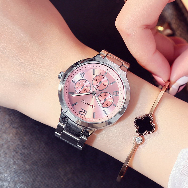 GIMTO Brand Dress Women Watches Steel Luxury Rose Gold Bracelet Wristwatch Clock Business Quartz Ladies Watch Relogio Feminino feitong luxury brand watches for women ladies watch full stainless steel gold mesh band wristwatch wristwatch relogio feminino
