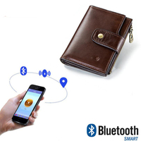 OCEAN BLUEVIN High End Men's Wallet RFID Leather Smart Bluetooth Anti Lost Anti Theft Multi Function Coin Purse Mobile Phone Bag
