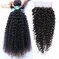 8A Não Transformados Mongolian Kinky Curly Cabelo Com Encerramento 3 Bundles Com 1 top lace closure encaracolado afro crespo cabelo humano tecer cabelo
