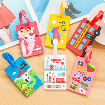 Kawaii Stitch Suitcase Luggage Tag Cartoon ID Address Holder Baggage Label Silica Ge Identifier Travel Accessories Free Shipping
