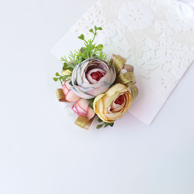 Wrist Corsage Bracelet wrist flowers artificial flowers rose  (2)