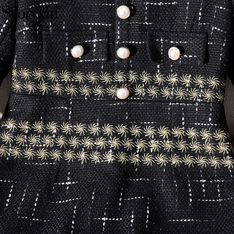Pour Vintage Piste Robes Femmes Hiver Or De Broderie Automne Robe Luxueux Svoryxiu Décontractées Ligne Élégant Partie Noir Femelle tq1B0wa