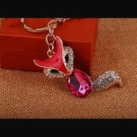 פוקס Keychain טבעת מפתח שועל קטן גביש אופנה הגעה קוריאנית # SK1051