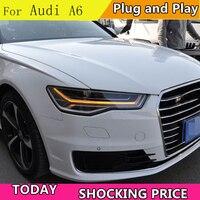 doxa Car Styling for Audi A6 Headlights 2009 2012 2013 2018 A6 LED Headlight DRL Lens Double Beam bi LED lens car headlight