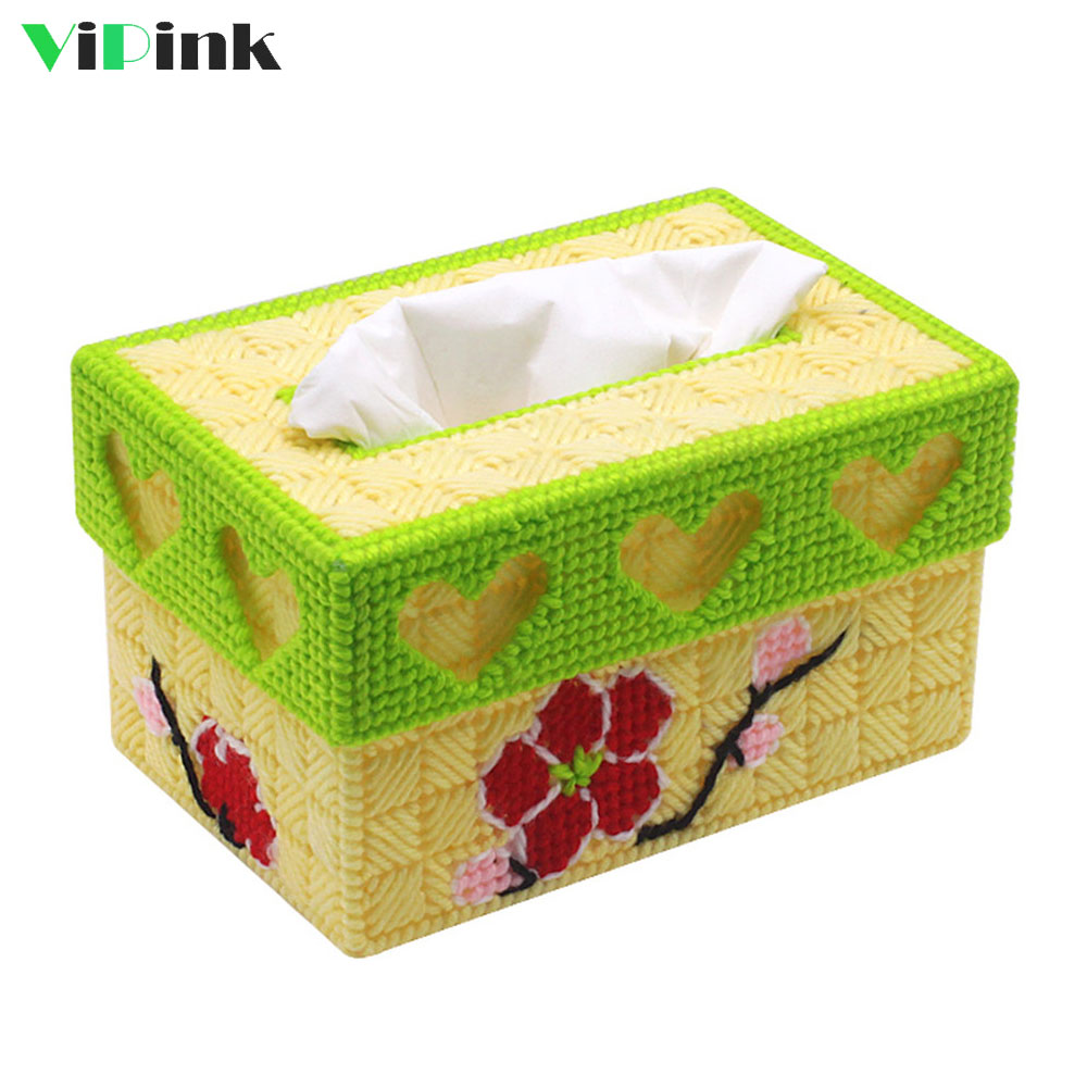 Us 12 59 24 Off Handmade 3d Diy Plum Flower Tissue Box Container Napkin Holder Cover Box Chinese Cross Stitch Kits Embroidery Needlework Set In