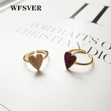 WFSVER 925 sterling silver jewelry heart-shaped ring for women gold color with white/purple crystal ring opening adjustable wfsver women rose gold silver 925 sterling silver ring bohemia with white crystal leaf shape ring opening adjustable jewelry