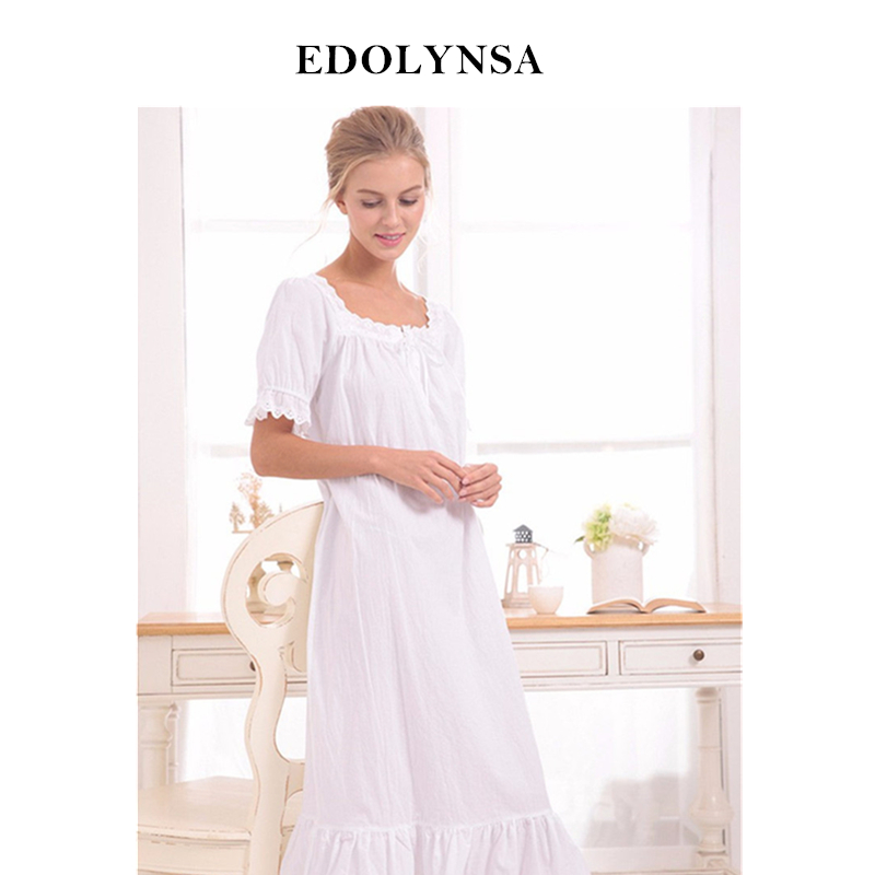 New Arrival Vintage   Nightgowns     Sleepshirts   Elegant Lady Dresses Princess Sleepwear Print Home Dress Lace Sleep & Lounge #H119