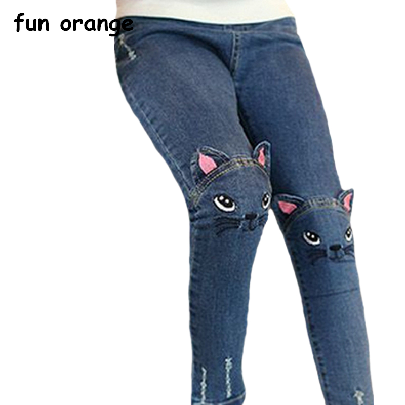 Fun Orange Girls Jeans Fashion Cartoon Cat Embroidered Leggings Slim Pants Autumn Children Pencil Pants Kids Trousers contrast stitching embroidered pants