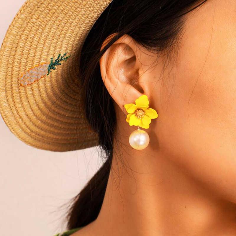 אופנה פרל Drop להתנדנד עגילי צבע פרח אמייל זהב מתוק תכשיטי הצהרת בציר עגילי עבור בנות נשים מתנות