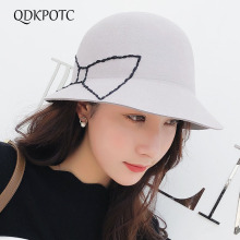 QDKPOTC 2018 New Fashion Fedoras Womens Jazz Hat Dome Butterfly Hand-sewd 100% Wool Cap Outdoor Big Brim Casual