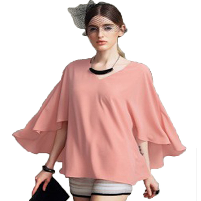 fa76075f7ec8 2015 summer hot bat sleeve chiffon blouse stylish atmosphere in line with  the trend of modern professional women s dress LL005