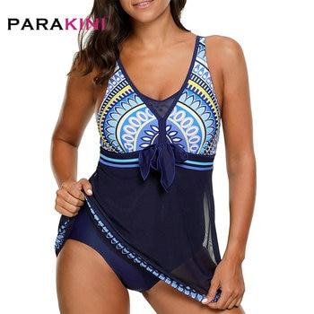 PARAKINI 2019 New printed gauze long skirt one-piece swimsuit plus fertilizer to increase large size ladies beach swimwear